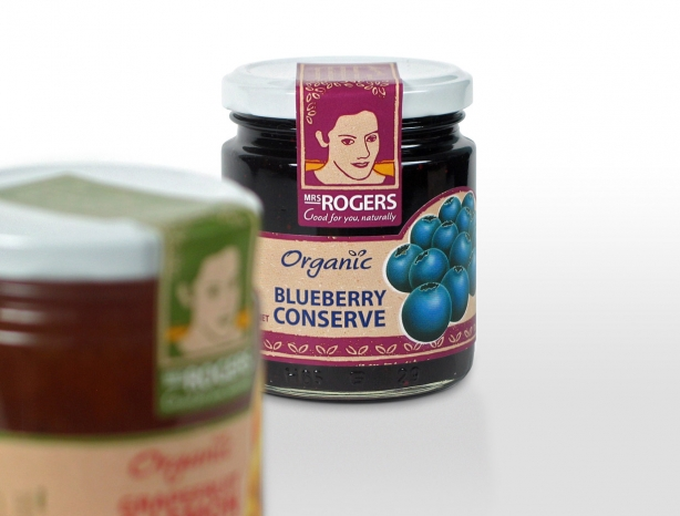 Mrs Rogers organic blueberry conserve packaging