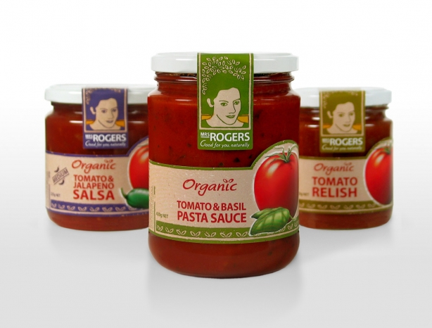Mrs Rogers organic sauces packaging